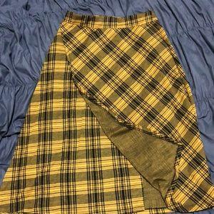 Plaid Yellow/Black Skirt Zara